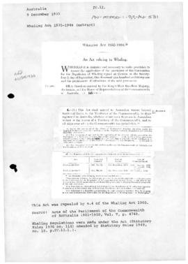 Whaling Act 1935-1948, and Whaling Regulations 1936