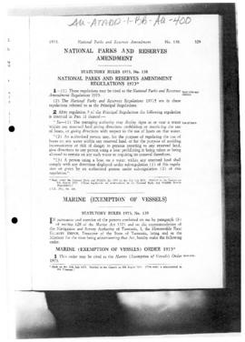 Tasmania Statutory Rules 1973, National Parks and Reserves Amendment Regulations 1973