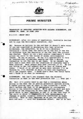 Australia, Prime Minister Bob Hawke, Transcript of interview with German television