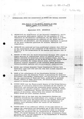 International Union for Conservation of Nature and Natural Resources, 16th Session of the General Assembly of IUCN Madrid, Spain, 5-14 November 1984, Resolution 16/8: Antarctica; Resolution 16/9: Antarctica (II); Resolution 16/38: Airstrip at Pointe Geologie, Antarctica