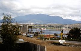 Eastern approach to Tasman Bridge during construction