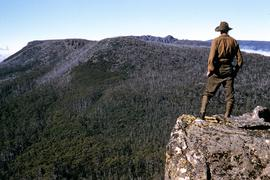 Man looking to Mount Marian from Mount Charles