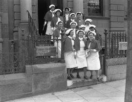 Nurses in front of  the Cadbury Fry Pascall Show Room and Office