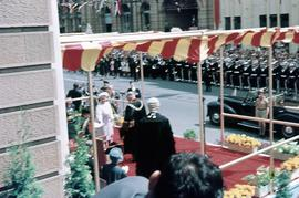 Queen Mother at ceremony outside Hobart Town Hall