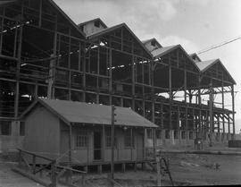 Corrugated iron shed dwarfed by larger building under construction at E.Z. Co. Zinc Works at Risdon