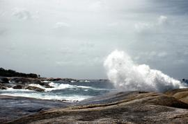 Rocky shoreline at blowhole, Bicheno