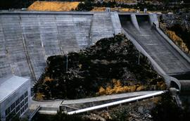 Spillway at Butlers Gorge Power Station, off the Clark Dam wall, below Lake King William, commiss...