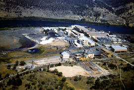 Aerial view of newsprint mill at Boyer