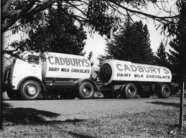 Large double milk tanker with Cadbury logo on sides
