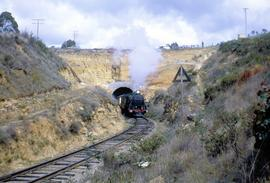 Steam train emerging from northern portal of Rhyndaston Tunnel