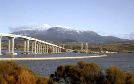 Hobart Bridge and Tasman Bridge in winter 1964