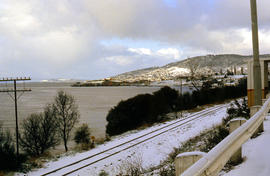 Snow on banks of River Derwent 1986