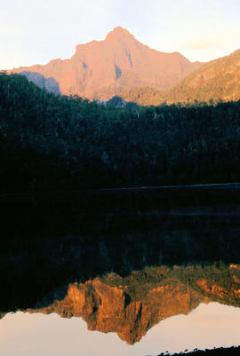 Reflection of Mount Anne on surface of Lake Timk