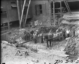 Horse and cart used in excavation of Derwent Prime furnace site at E.Z. Co. Zinc Works