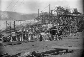 Timber trusses, bricks and framework of new building under construction at E.Z. Co. Zinc Works 1924
