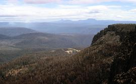 View towards Barn Bluff and Cradle Mountain from Devils Gullet