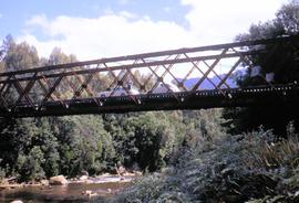 Crossing King River railway bridge 1970