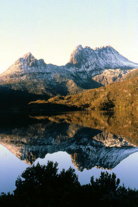 Reflection of mountain on surface of Dove Lake