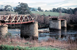Missing rail section across River Derwent at Macquarie Plains bridge
