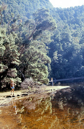 People on shore of Lake Timk 1974