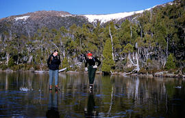 Two bushwalkers at Eagle Tarn