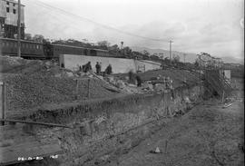 Excavation and construction below railway line at Risdon