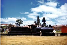 Children playing on black steam locomotive