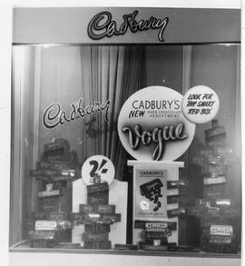 Window display of Cadbury's Vogue chocolates