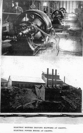 Two views of Crotty, Tasmania, showing electric machinery and power station.