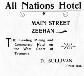 Advertising flyer for the All Nations Hotel, Zeehan, Tasmania