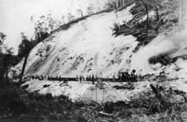 View of a railway cutting under construction, Queenstown Tasmania