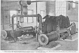 View of the interior of the British Zeehan Mine engine house showing the main components, Zeehan,...