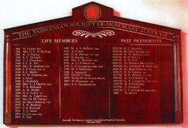Tasmanian Society of Honorary Justices : Honour Board
