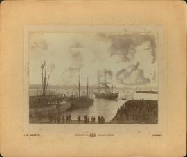 Hobart wharves, steam sail boats