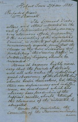 Copy of circular addressed to licenced victuallers