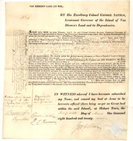Grant of land at 31 Campbell Street, Hobart to Joshua Fergusson
