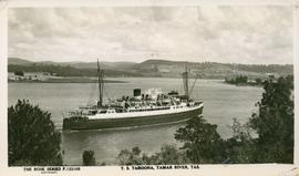 Postcard of the T.S. Taroona in the Tamar River