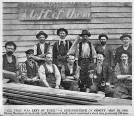Portrait of 11 men being members of the North Lyell Mechanical Staff, Crotty, Tasmania.