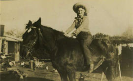 Marjorie Blackwell riding a horse, Campbelltown