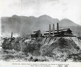 View of smelters showing construction works and slag disposal at Crotty, Tasmania.