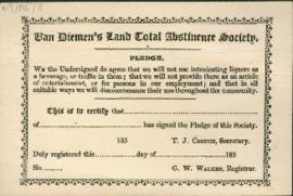 Van Diemen's Land Total Abstinence Society pledge