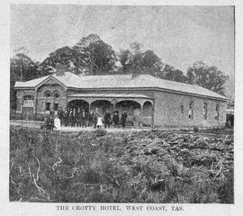 Image shows the Crotty Hotel with people in front. Crotty, Tasmania.