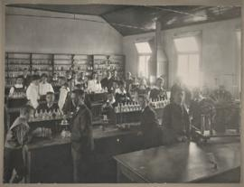 Photograph of class in chemistry laboratory