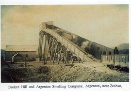 View of the smelting works of the Broken Hill and Argenton Smelting Company, Argenton, near Zeehan, Tasmania