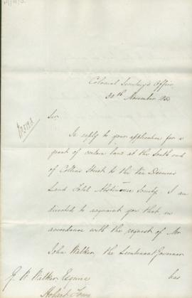 Letter from Bicheno, Colonial Secretary's office
