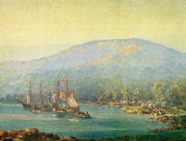 First Landing, printed reproduction of painting, coloured