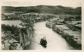 Postcard of a ferry on the Upper Derwent