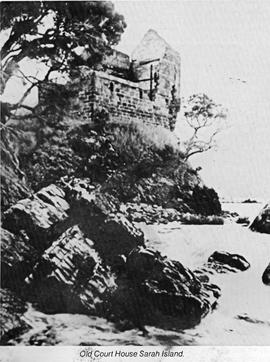 View from the shore looking up at the ruined Court House on Sarah Island, Macquarie Harbour, Tasm...