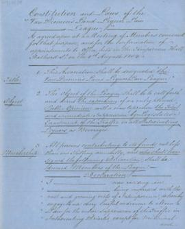Constitution and Laws of the Van Diemen's Land Liquor Law League