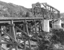 View of steel railway bridge with adjacent timber trestle extension, Crotty, Tasmania